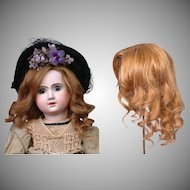 "Beautiful 12.5""C. Goldenrod Human Hair Wig w/Supple Soft Curls -- Great for German or French Dolls!"