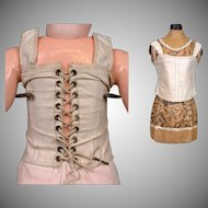 "Rare Eighteen-Eyelet Jumeau Antique Doll Corset For Size 11 Bebe (24"")"