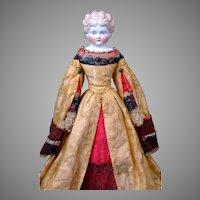 "19"" German Parian Lady in Original Theatrical Golden Silk Brocade Costume"