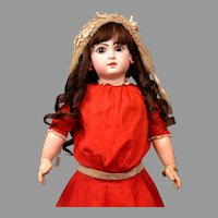 """Holly Berry Red Antique Jumeau Dress C. 1890 For Size 11 Bebe (24"""")"""