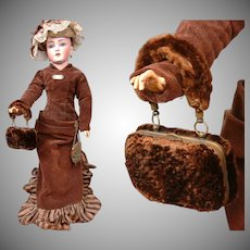 Incredibly Rare Victorian Beaver French Fashion Doll Accordion Purse c.1880