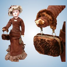 Incredibly Rare Victorian Beaver French Fashion Doll Accordion Purse c.1880