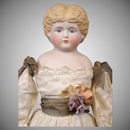 "Gorgeous 21"" Parian Lady In Fabulous Victorian Hand-Embroidered Lawn Costume"