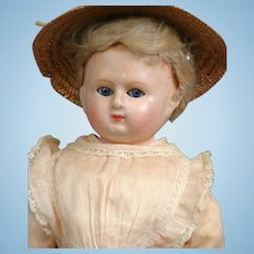 "18.5"" All Original Wax Over Paper Mache Lady Doll With Glass Sleep Eyes"