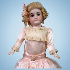 """Pretty In Pink 22.5"""" Queen Louise Armand Marseille Antique Doll with Silvery Blue Eyes!"""