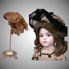 Exceptional Antique French Human Hair Wig Rare color