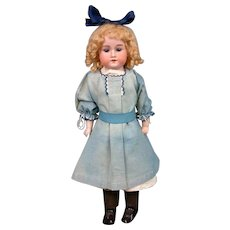 """Preciouse 17"""" """"Rosebud"""" Armand Marseille Antique Bisque Girl in Blue Dress and Head Bow"""