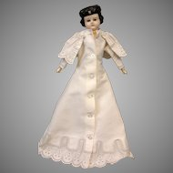 Early Heuret-Era c.1865 Antique Cotton Dress w/Intricate & Extensive Eyelet Embroidery