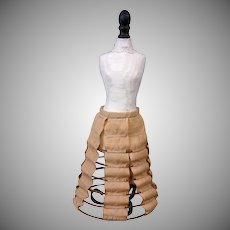 Rare Early c.1850 Hoop Skirt for Early China or Huret Poupee, Hand-Stitched