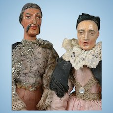 RARE Pair of Carved Wood Neapolitan Creche Figures Man and Wife in Original Costumes!