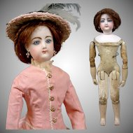 "18"" Francois Gaultier Antique Doll Jumeau Kid Over Wood Body Poupee Antique Costume"