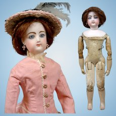 "Stunning 18"" Francois Gaultier for Jumeau Kid Over Wood Body Fashion Poupee In Antique Costume"