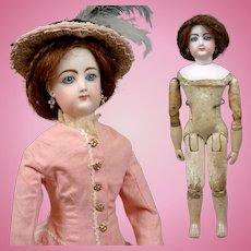"18"" Francois Gaultier Antique Doll Jumeau Kid Over Wood Body Poupee Antique Costume"
