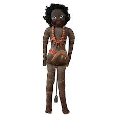 RARE Sarah Midgley Australian Artist Aboriginal Lady Doll w/Boomerang c.1920-1940