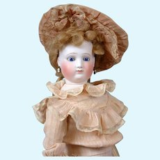 """Angelic 21.5"""" Fashion Poupee By Blampoix In Wonderful Condition With Antique Costume and J. Paquet Boutique Label C. 1860"""