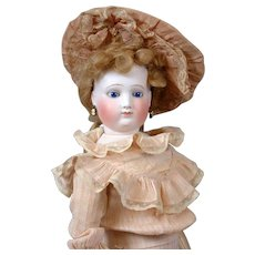 "Angelic 21.5"" Fashion Poupee By Blampoix In Wonderful Condition With Antique Costume and J. Paquet Boutique Label C. 1860"