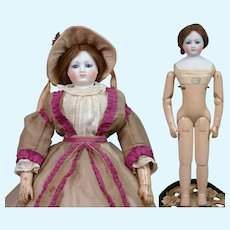 """RARE 17.5"""" Gaudinot and Popineau c. 1865 Wood Body with Simonne Label in Original Gown!"""