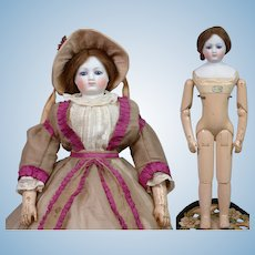 "RARE 17.5"" Gaudinot and Popineau c. 1865 Wood Body with Simonne Label in Original Gown!"