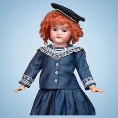 "Ginger Simon Halbig 1079 Antique Bisque Girl 22.5"" in Navy Sailor Costume"