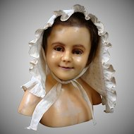 Gorgeous BIG Child-Sized Antique Crispy White Bonnet in Cotton c.1860