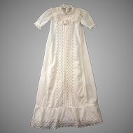 *Top Of Its Class* c.1900-1910 Antique Long Baby Gown with Unending Eyelet Lace