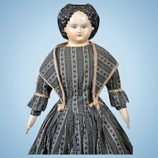 "*The Alluring* Papier Mache Greiner 26"" c.1858 in Antique Costume with Provenance"