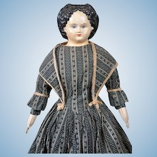 "*The Alluring* Papier Mache Greiner 26"" c.1858 in Antique Costume with Provenance"