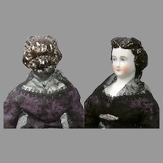 """Superb 11.5"""" China lady with Aqueline Nose and Extremely Elaborate Pearl Studded Updo"""
