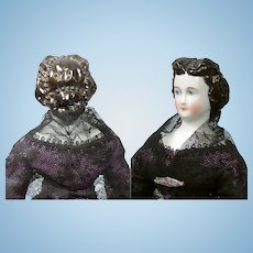 "Superb 11.5"" China lady with Aqueline Nose and Extremely Elaborate Pearl Studded Updo"