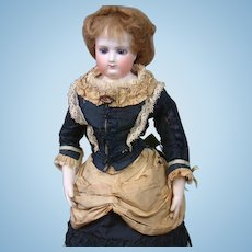 """Incredible 15.5"""" All Original Early Jumeau Poupee With Wooden Arms & Bisque Hands"""