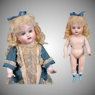 "Outstanding 10.5"" Kestner Wrestler With Rare Blue Boots All Bisque Doll Circa 1895"