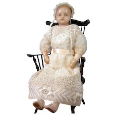 "Charming All Original Antique English 17.5"" Wax Baby by Pierotti or Montanari"