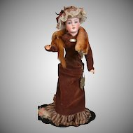 Delightful Antique Mink Stole in Amber and Chocolate Tone with Glass Eyes