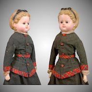 """All Original 22"""" Wax Over Papier Mache In Spectacular Costume With Rare Molded 'Alice' Bow"""