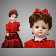 Elegant Wax Over Papier Mache Lady in Crimson Silk Gown with Black Lace