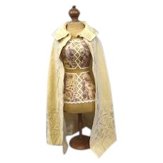 """Antique Doll Cape with Amazing Embroidery & Incredible Silk Lining 21.5 x 40.5"""""""
