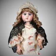 RARE Lovely Antique Black Lace & Silk Capelet for Large Bebe Doll