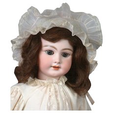 """23"""" French DEP 10 Bebe in Wonderful Antique Whites With Frilly Antique Bonnet"""