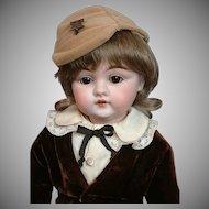 "The Delightful 14"" Kestner 143 Antique Bisque Boy in Velvet Costume"