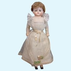 "Museum Quality 19"" All Factory Original German Papier Mache in Frothy Net Wedding Gown"