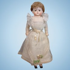 """Museum Quality 19"""" All Factory Original German Papier Mache in Frothy Net Wedding Gown"""