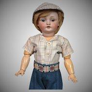 """*Farmer Boy* Kestner 143 Antique Bisque Character Boy Doll 19.5"""""""
