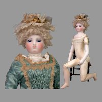 """17"""" Smiling Barrois Enfantine Poupee with Early Swivel Neck on Wooden Body - All Original"""