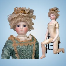 """~Wood Body~17"""" Smiling Barrois Enfantine Poupee With Early Swivel Neck Fully Articulated Wooden Body & Bisque Arms~All Original!"""