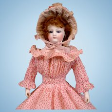 """Delicious Early 12"""" Fashion Poupee With Cobalt Eyes, Bisque Hands In Original Dress C. 1865"""