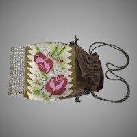 "Incredible Floral Beaded Velvet Purse 8.5"" x 6.5"" C 1900-1915"