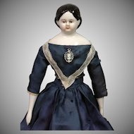 RARE All-Original Brown-Eyed Antique China Lady in Blue Silk Dress 10.5""