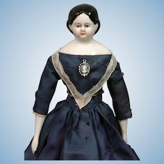 """RARE All-Original Brown-Eyed Antique China Lady in Blue Silk Dress 10.5"""""""