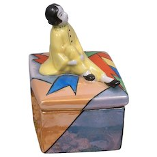 Cute Vanity Powder or Jewelry Box with Seated China Girl c.1920