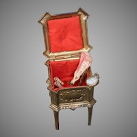 "French ""Depose"" c.1875 Red Interior Cast-Iron Fashion Doll Accessory Casket"